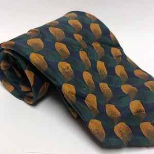 BARNEYS NEW YORK  Green Abstract Silk Tie